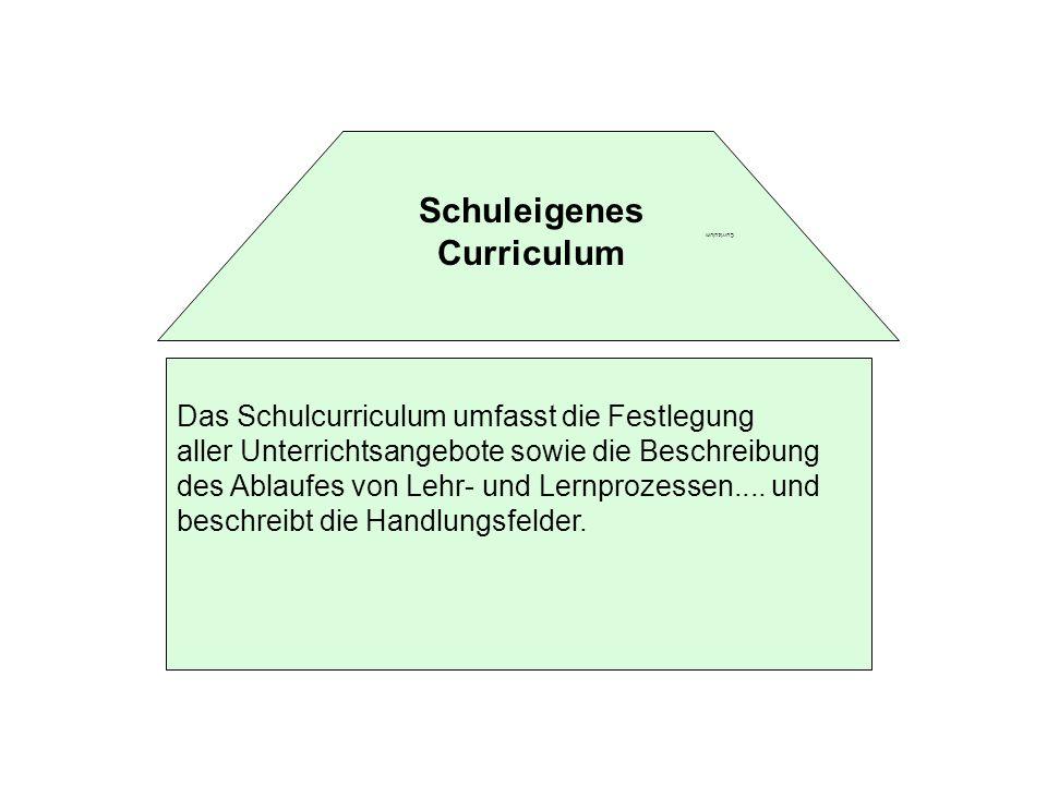 Curriculum Das Schulcurriculum umfasst die Festlegung aller Unterrichtsangebote sowie die Beschreibung des Ablaufes von Lehr- und Lernprozessen.... un