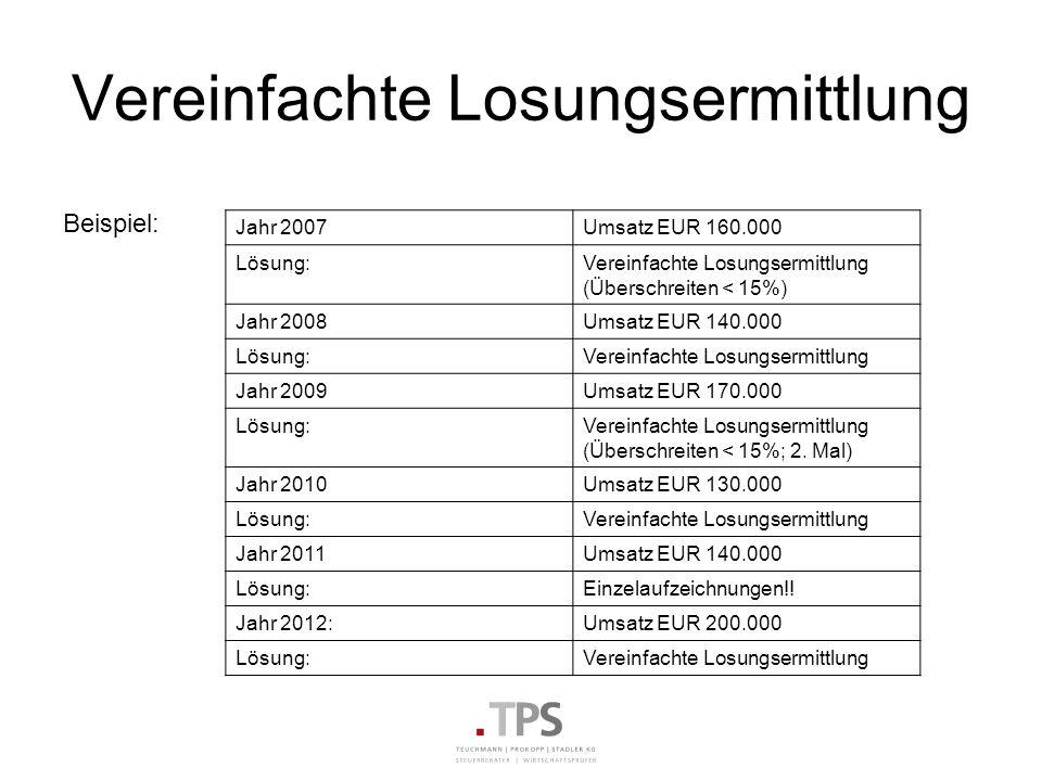 Vereinfachte Losungsermittlung Beispiel: Jahr 2007Umsatz EUR 160.000 Lösung:Vereinfachte Losungsermittlung (Überschreiten < 15%) Jahr 2008Umsatz EUR 1
