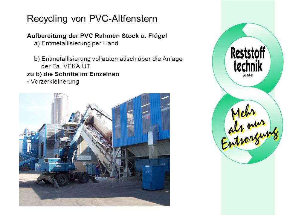 Recycling von PVC-Altfenstern Aufbereitung der PVC Rahmen Stock u. Flügel a) Entmetallisierung per Hand b) Entmetallisierung vollautomatisch über die