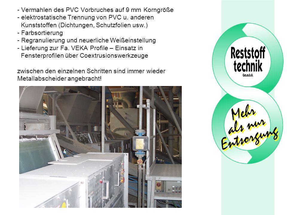 - Vermahlen des PVC Vorbruches auf 9 mm Korngröße - elektrostatische Trennung von PVC u. anderen Kunststoffen (Dichtungen, Schutzfolien usw.) - Farbso