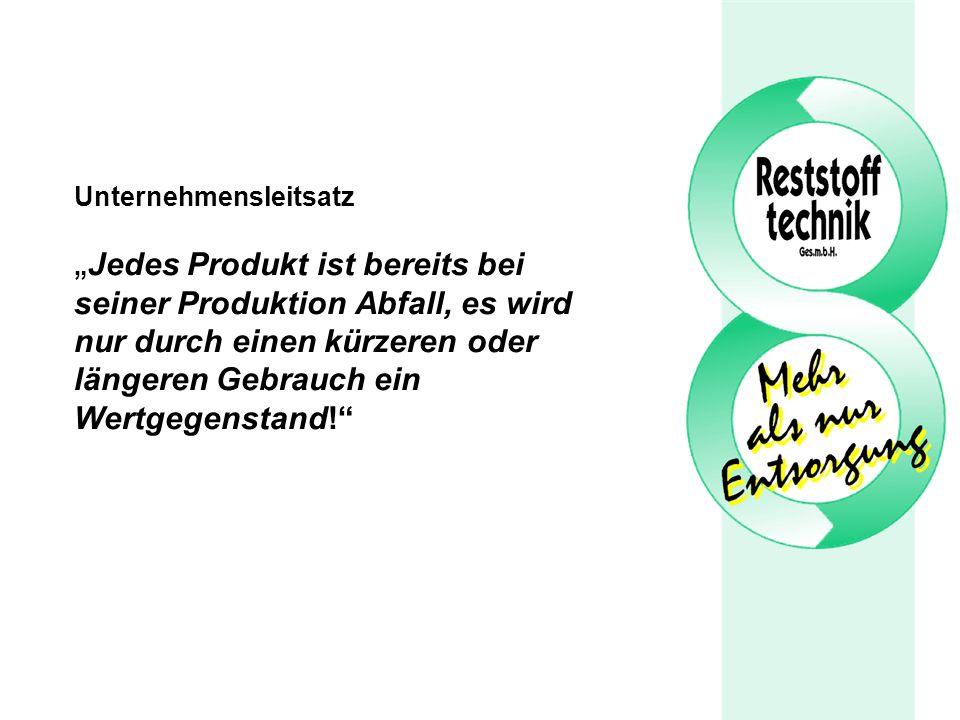 Unternehmensleitsatz Jedes Produkt ist bereits bei seiner Produktion Abfall, es wird nur durch einen kürzeren oder längeren Gebrauch ein Wertgegenstand!