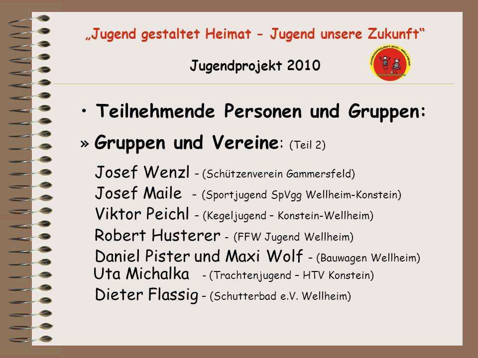 Jugend gestaltet Heimat - Jugend unsere Zukunft Jugendprojekt 2010 Teilnehmende Personen und Gruppen: » Gruppen und Vereine : (Teil 2) Josef Wenzl – (