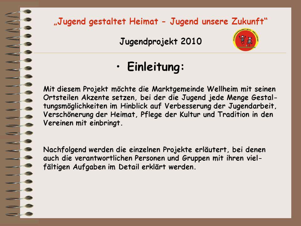 Jugend gestaltet Heimat - Jugend unsere Zukunft Jugendprojekt 2010 Einleitung: Mit diesem Projekt möchte die Marktgemeinde Wellheim mit seinen Ortstei