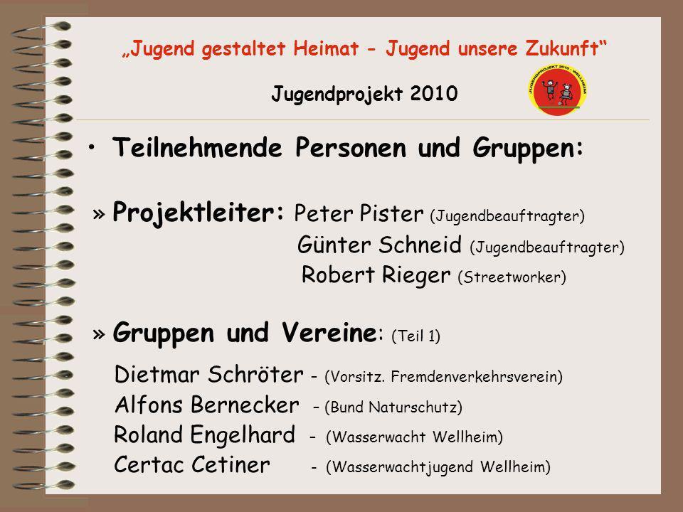 Jugend gestaltet Heimat - Jugend unsere Zukunft Jugendprojekt 2010 Teilnehmende Personen und Gruppen: » Projektleiter: Peter Pister (Jugendbeauftragte