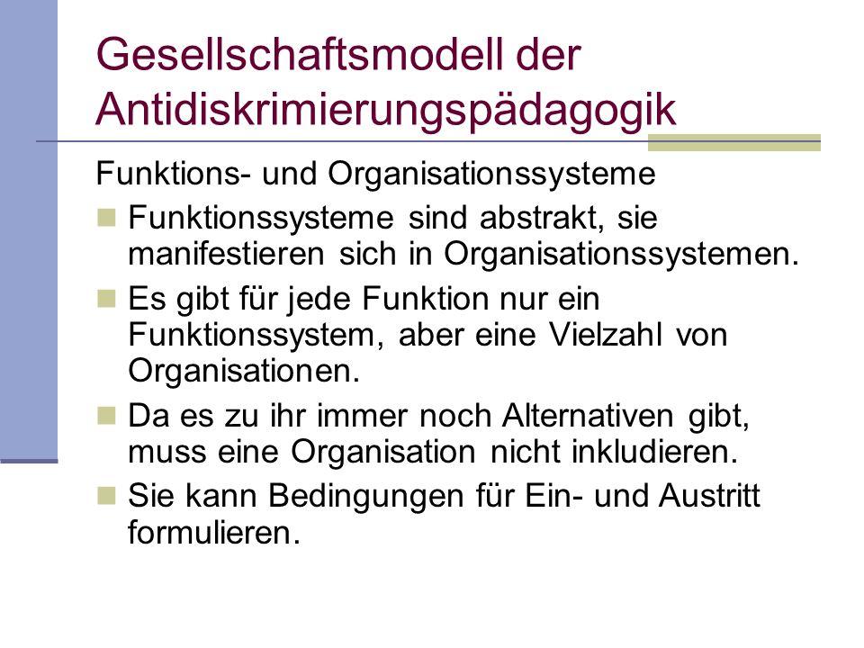 Gesellschaftsmodell der Antidiskrimierungspädagogik Funktions- und Organisationssysteme Funktionssysteme sind abstrakt, sie manifestieren sich in Organisationssystemen.