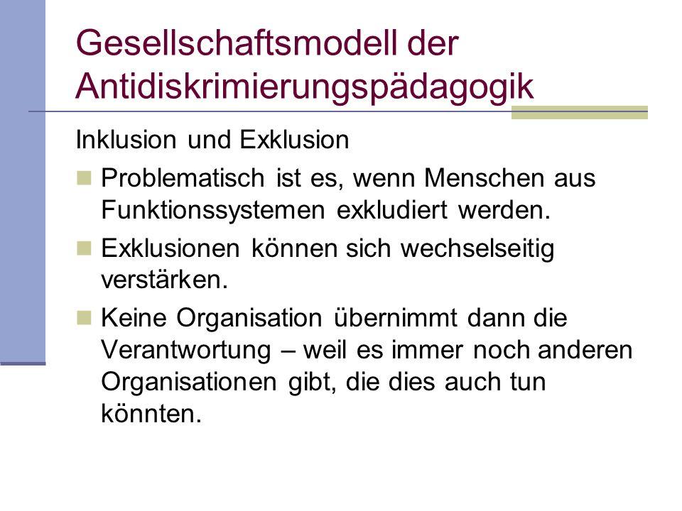 Gesellschaftsmodell der Antidiskrimierungspädagogik Inklusion und Exklusion Problematisch ist es, wenn Menschen aus Funktionssystemen exkludiert werden.