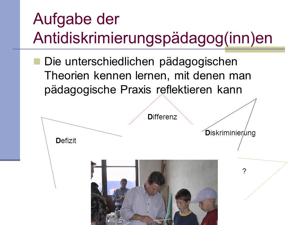 Aufgabe der Antidiskrimierungspädagog(inn)en Die unterschiedlichen pädagogischen Theorien kennen lernen, mit denen man pädagogische Praxis reflektieren kann Defizit Differenz Diskriminierung ?