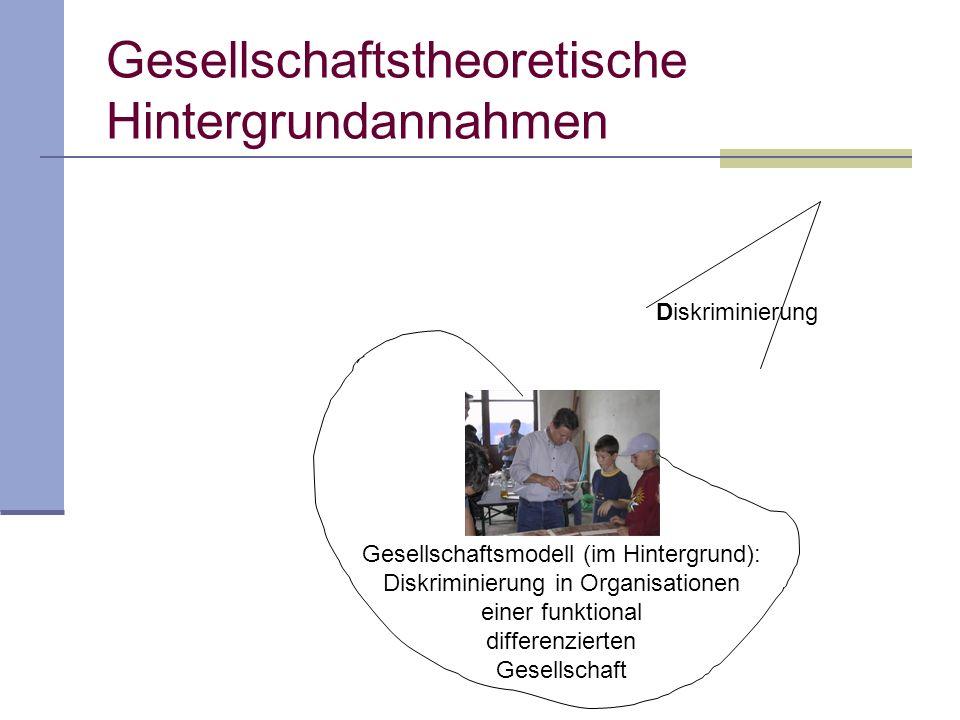 Diskriminierung Gesellschaftsmodell (im Hintergrund): Diskriminierung in Organisationen einer funktional differenzierten Gesellschaft Gesellschaftstheoretische Hintergrundannahmen