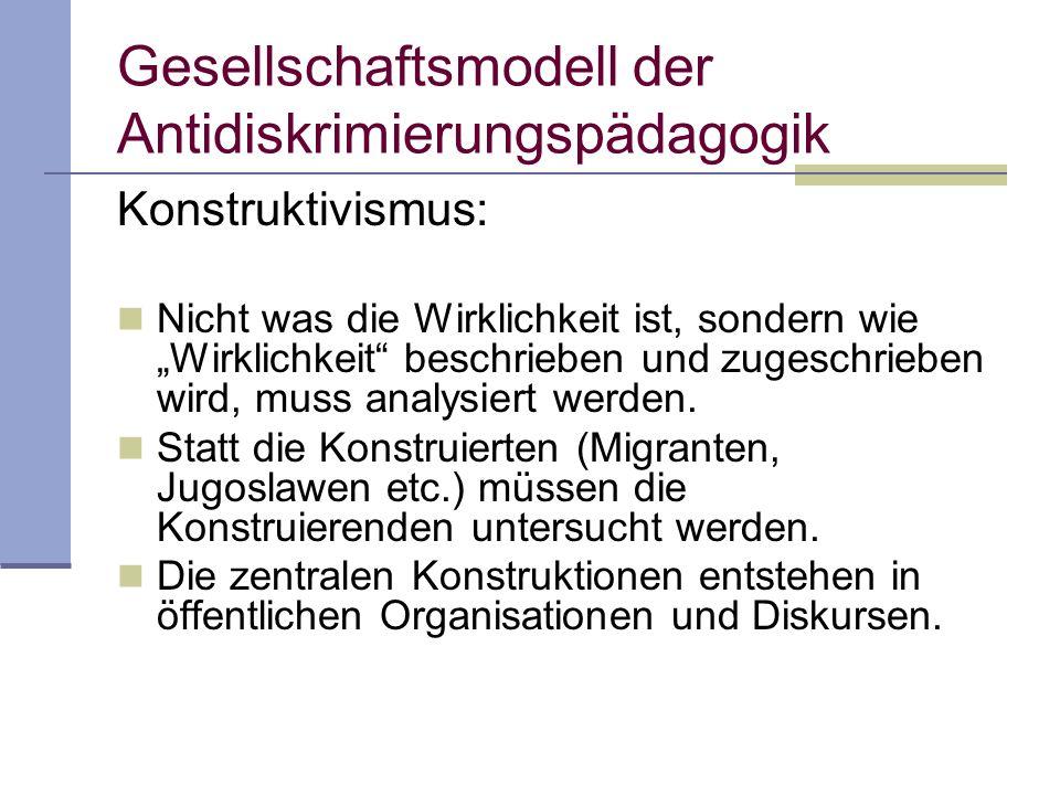 Gesellschaftsmodell der Antidiskrimierungspädagogik Systemtheorie (Niklas Luhmann): Systeme unterscheiden immer zwischen sich und der Umwelt.