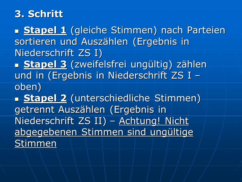 3. Schritt Stapel 1 (gleiche Stimmen) nach Parteien Stapel 1 (gleiche Stimmen) nach Parteien sortieren und Auszählen (Ergebnis in Niederschrift ZS I)