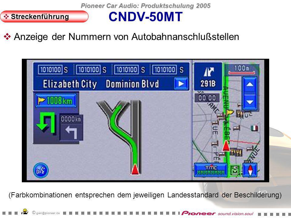 Pioneer Car Audio: Produktschulung 2005 © gwn@pioneer.de CNDV-50MT Streckenführung Die Buttons behalten in jedem Displaymodus ihren Platz