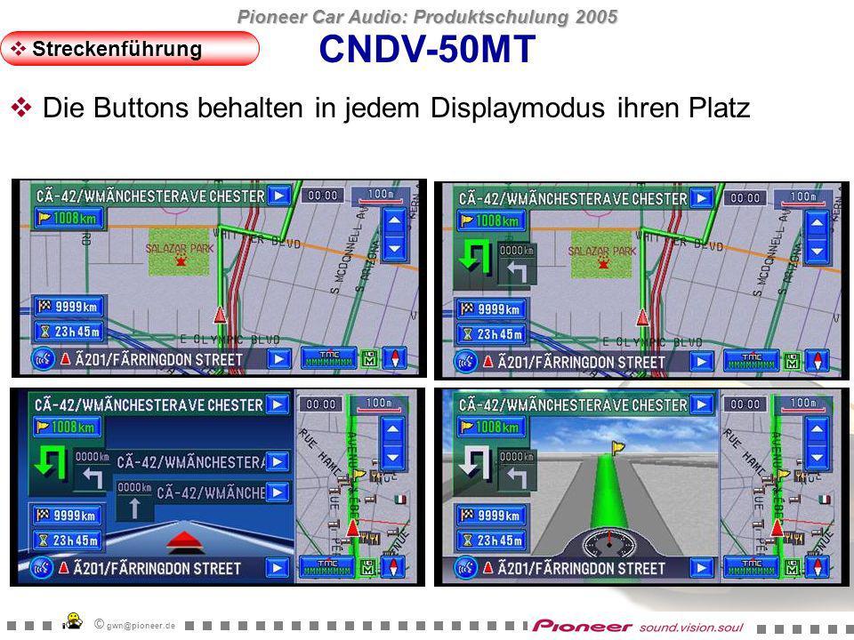 Pioneer Car Audio: Produktschulung 2005 © gwn@pioneer.de CNDV-50MT Streckenführung Neues Feature: Spurinformation