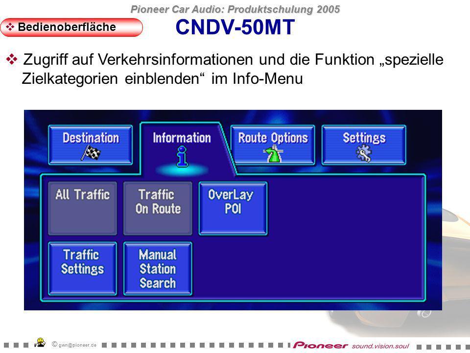 Pioneer Car Audio: Produktschulung 2005 © gwn@pioneer.de CNDV-50MT Bedienoberfläche Häufig genutzte Zielkategorien können für den Sofortzugriff abgelegt werden