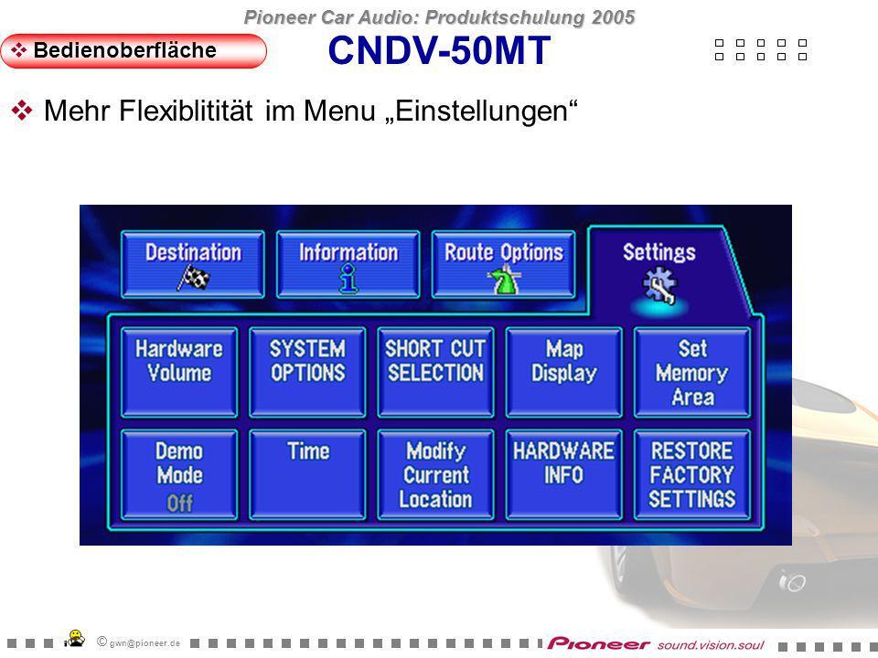 Pioneer Car Audio: Produktschulung 2005 © gwn@pioneer.de CNDV-50MT Bedienoberfläche Lautstärke- und Stummschaltungsoptionen auf einer Seite:
