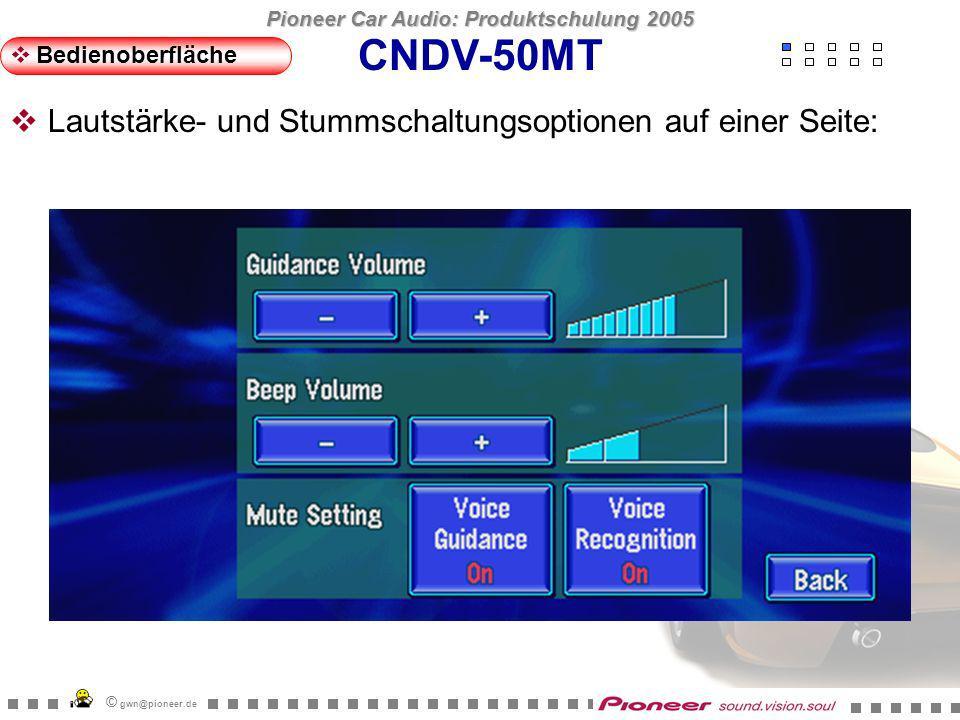 Pioneer Car Audio: Produktschulung 2005 © gwn@pioneer.de CNDV-50MT Bedienoberfläche Alle Systemoptionen auf einer Seite