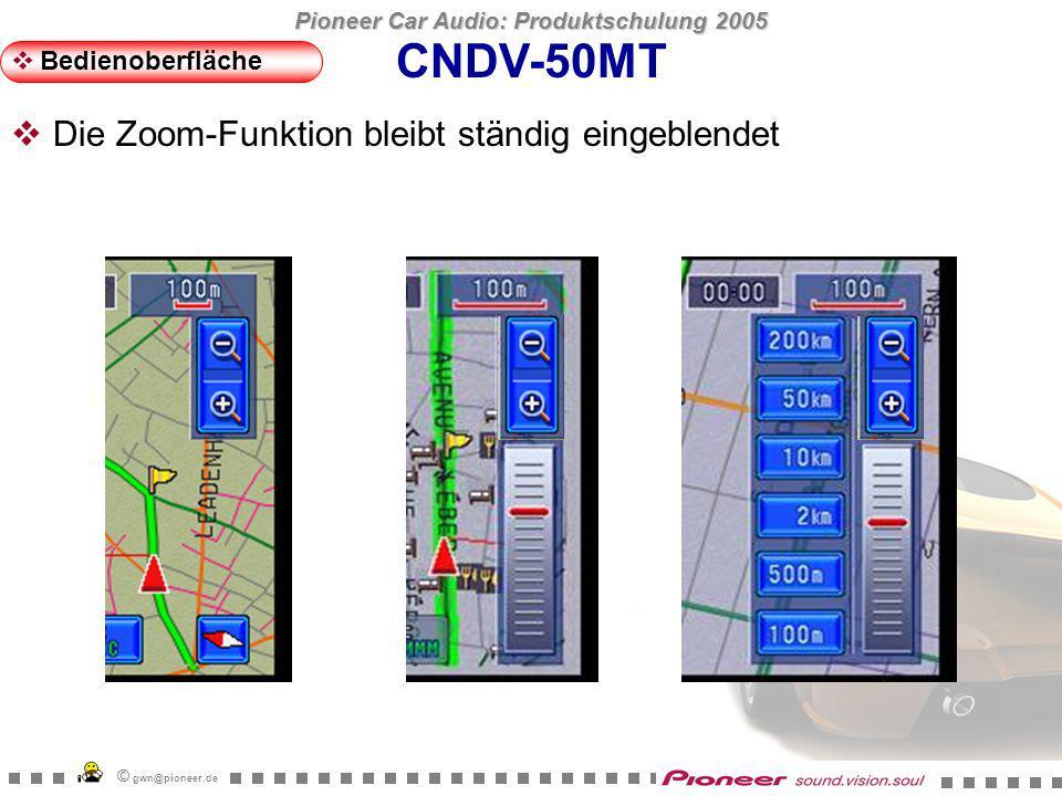 Pioneer Car Audio: Produktschulung 2005 © gwn@pioneer.de CNDV-50MT Bedienoberfläche Die Oberfläche der Touch-Buttons ist grösser als die Grafik