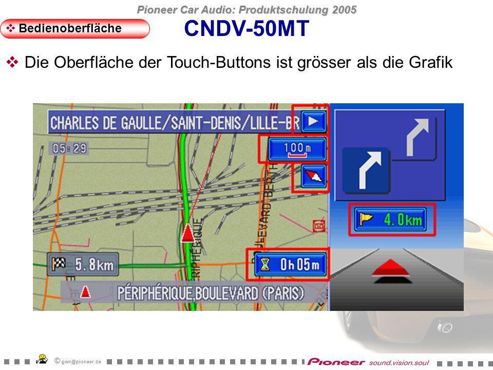 Pioneer Car Audio: Produktschulung 2005 © gwn@pioneer.de Hologram Sharp Metal Carbon (Tag) Carbon (Nacht) Classic CNDV-50MT Bedienoberfläche Neue Grafik für Fahrzeugdynamik-Display