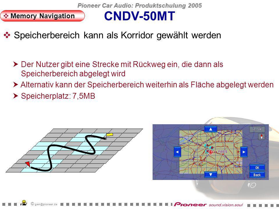 Pioneer Car Audio: Produktschulung 2005 © gwn@pioneer.de CNDV-50MT 6 Zoomschritte während der Memory Navigation Memory Navigation 100m - 200m - 500m - 1Km - 2Km - 5Km