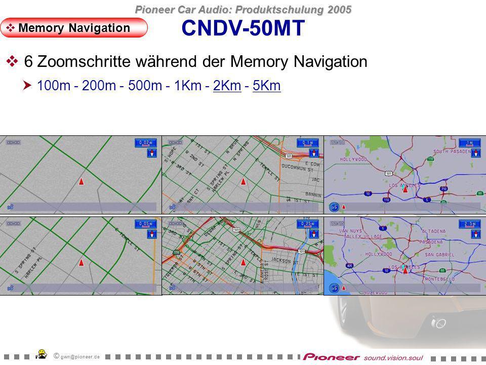 Pioneer Car Audio: Produktschulung 2005 © gwn@pioneer.de StartZiel Distanz (km) (Kbyte) ParisAntwerpen343.9 11514.9 LondonParis522.1 13694.3 BarcelonaLondon1576.3 40025.7 CNDV-50MT Memory Navigation Von London nach Paris mit Memory Navi 14MB stehen für Memory Navigation zur Verfügung.