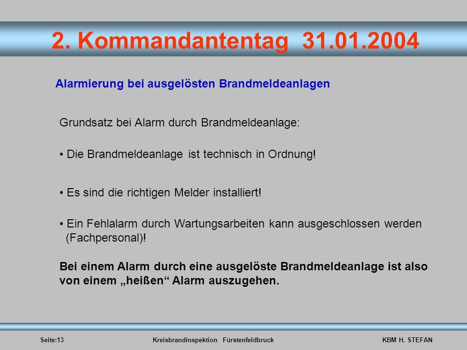 Seite:13Kreisbrandinspektion FürstenfeldbruckKBM H. STEFAN 2. Kommandantentag 31.01.2004 Alarmierung bei ausgelösten Brandmeldeanlagen Grundsatz bei A