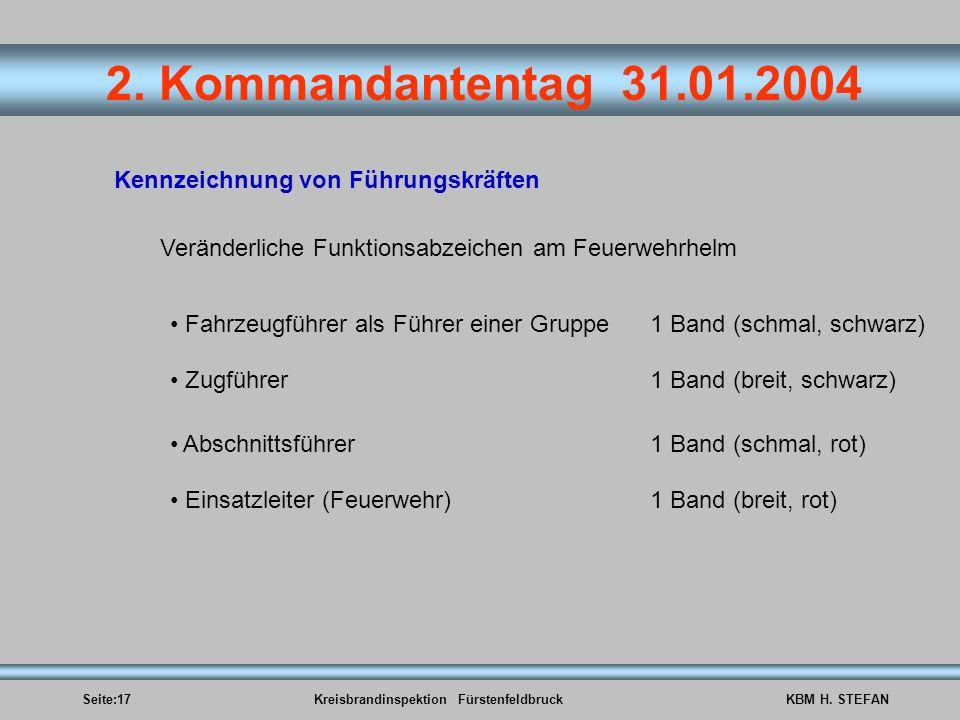 Seite:17Kreisbrandinspektion FürstenfeldbruckKBM H. STEFAN 2. Kommandantentag 31.01.2004 Kennzeichnung von Führungskräften Veränderliche Funktionsabze
