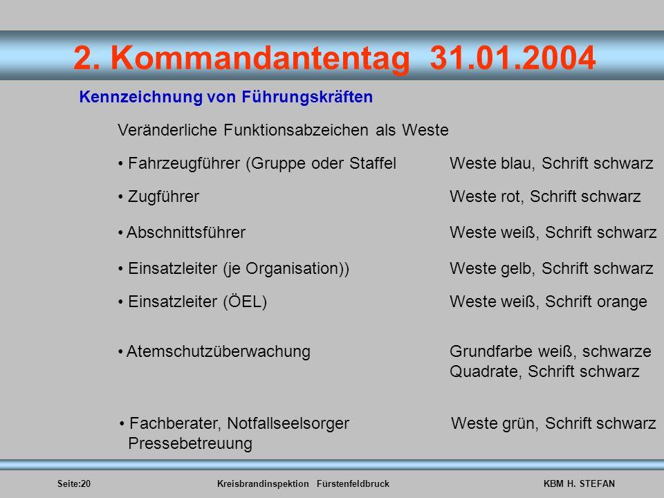 Seite:20Kreisbrandinspektion FürstenfeldbruckKBM H. STEFAN 2. Kommandantentag 31.01.2004 Kennzeichnung von Führungskräften Veränderliche Funktionsabze