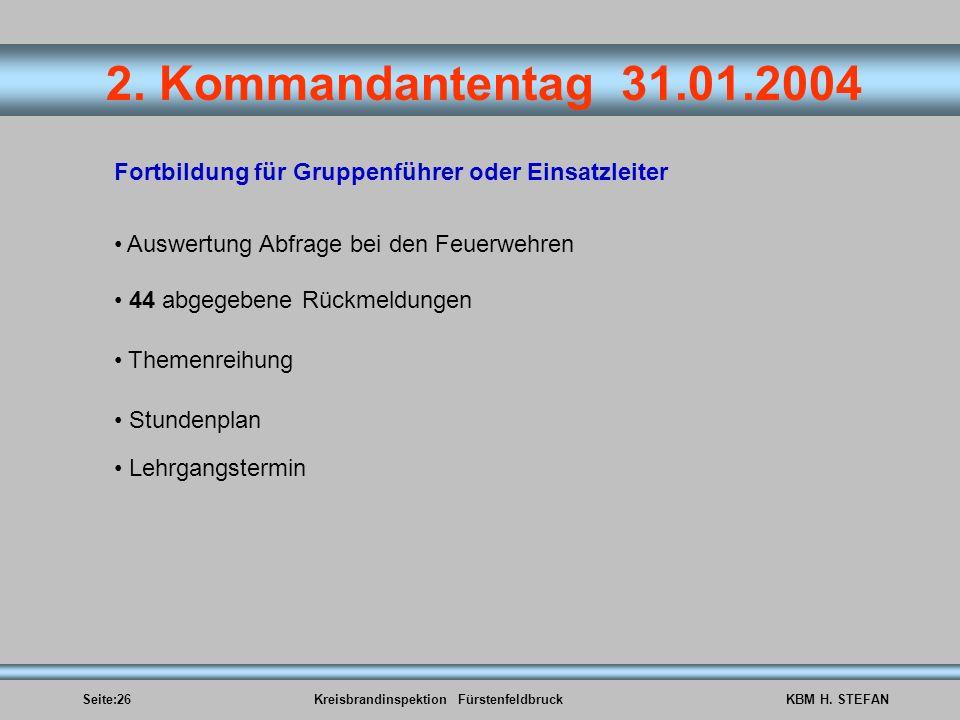 Seite:26Kreisbrandinspektion FürstenfeldbruckKBM H. STEFAN 2. Kommandantentag 31.01.2004 Fortbildung für Gruppenführer oder Einsatzleiter Auswertung A