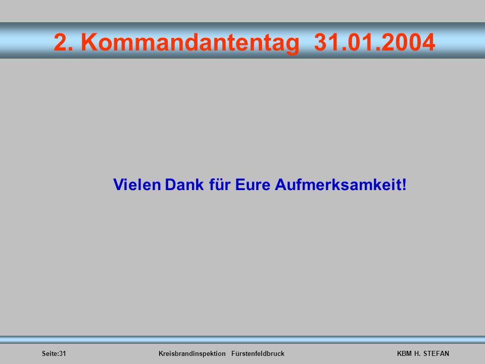 Seite:31Kreisbrandinspektion FürstenfeldbruckKBM H. STEFAN 2. Kommandantentag 31.01.2004 Vielen Dank für Eure Aufmerksamkeit!