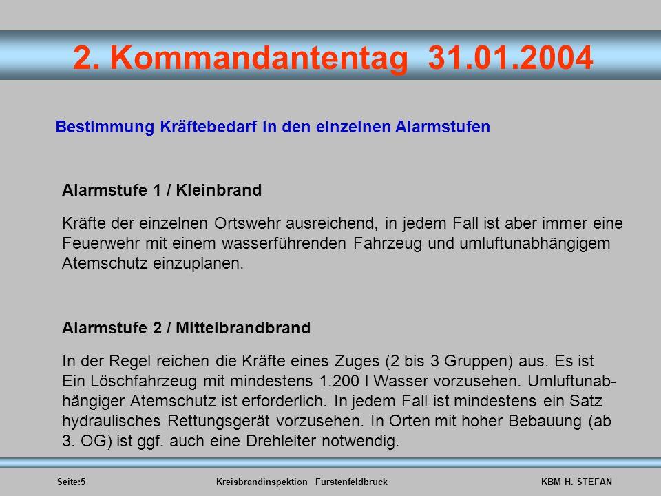 Seite:5Kreisbrandinspektion FürstenfeldbruckKBM H. STEFAN 2. Kommandantentag 31.01.2004 Bestimmung Kräftebedarf in den einzelnen Alarmstufen Alarmstuf