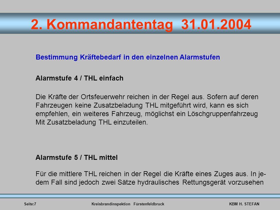 Seite:7Kreisbrandinspektion FürstenfeldbruckKBM H. STEFAN 2. Kommandantentag 31.01.2004 Bestimmung Kräftebedarf in den einzelnen Alarmstufen Alarmstuf