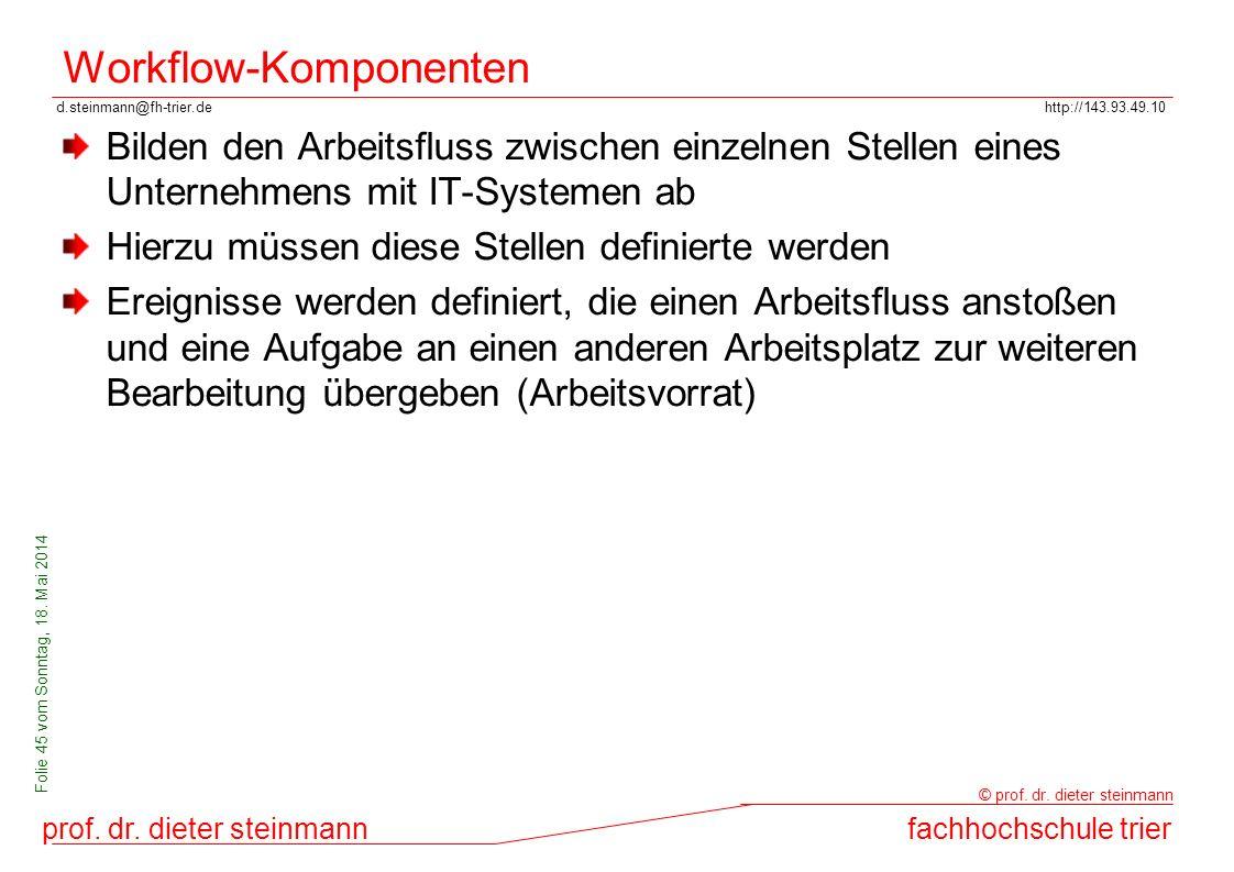 d.steinmann@fh-trier.dehttp://143.93.49.10 prof. dr. dieter steinmannfachhochschule trier © prof. dr. dieter steinmann Folie 45 vom Sonntag, 18. Mai 2
