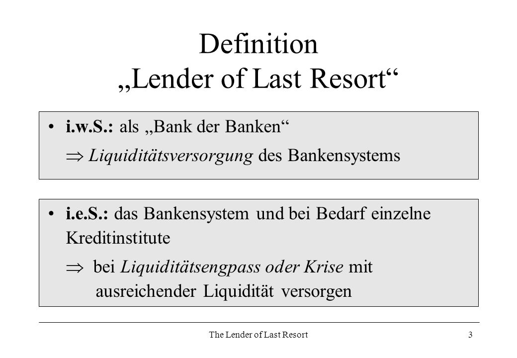The Lender of Last Resort14 Ziele des LOLR Stabilität im Bankensektor Vertrauensfunktion (-> Finanzkrisen) Vermeidung von Systemkrisen