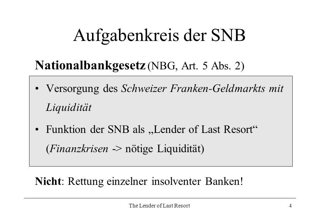 The Lender of Last Resort5 Bankenkrisen in der CH Keine Nennung von konkreten Beispielen Erfahrung mit Bankenkrisen (30er Jahren) Jubiläumsband der SNB (1932): Bei allen Interventionen hatte die Nationalbank nicht in erster Linie die Sanierung des einzelnen in Frage stehenden Instituts, sondern die Aufrechterhaltung des Kreditsystems und die Festigung des Vertrauens in die Schweizer Wirtschaft im Auge.