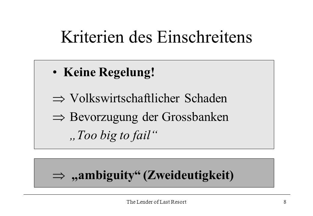 The Lender of Last Resort9 Problem der LOLR-Funktion Ambiguity Haltung der Doppeldeutigkeit (Ambivalenz, Mehrdeutigkeit) Verhalten in Krise unbekannt –> Einschreiten oder Nicht Rechtsstaatlich aber fraglich