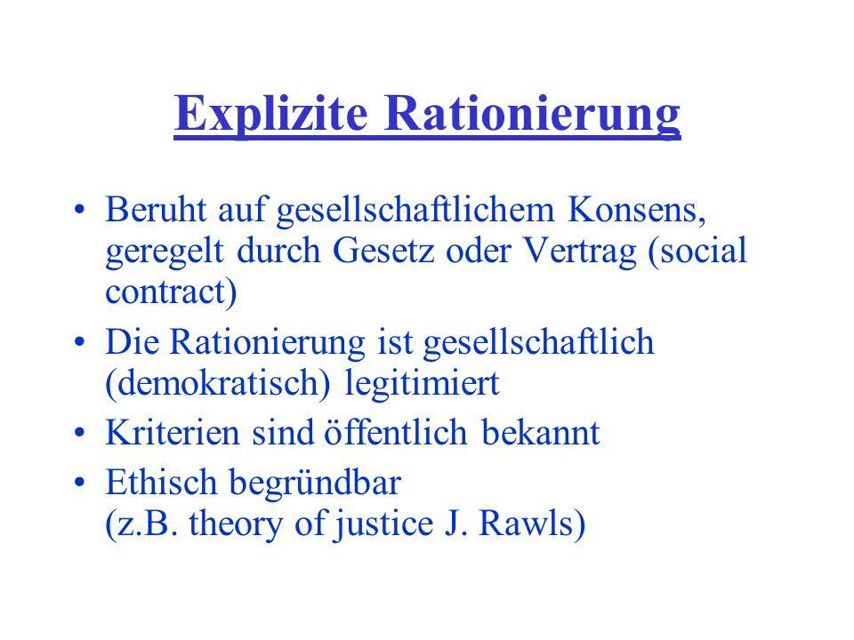Explizite Rationierung Beruht auf gesellschaftlichem Konsens, geregelt durch Gesetz oder Vertrag (social contract) Die Rationierung ist gesellschaftlich (demokratisch) legitimiert Kriterien sind öffentlich bekannt Ethisch begründbar (z.B.
