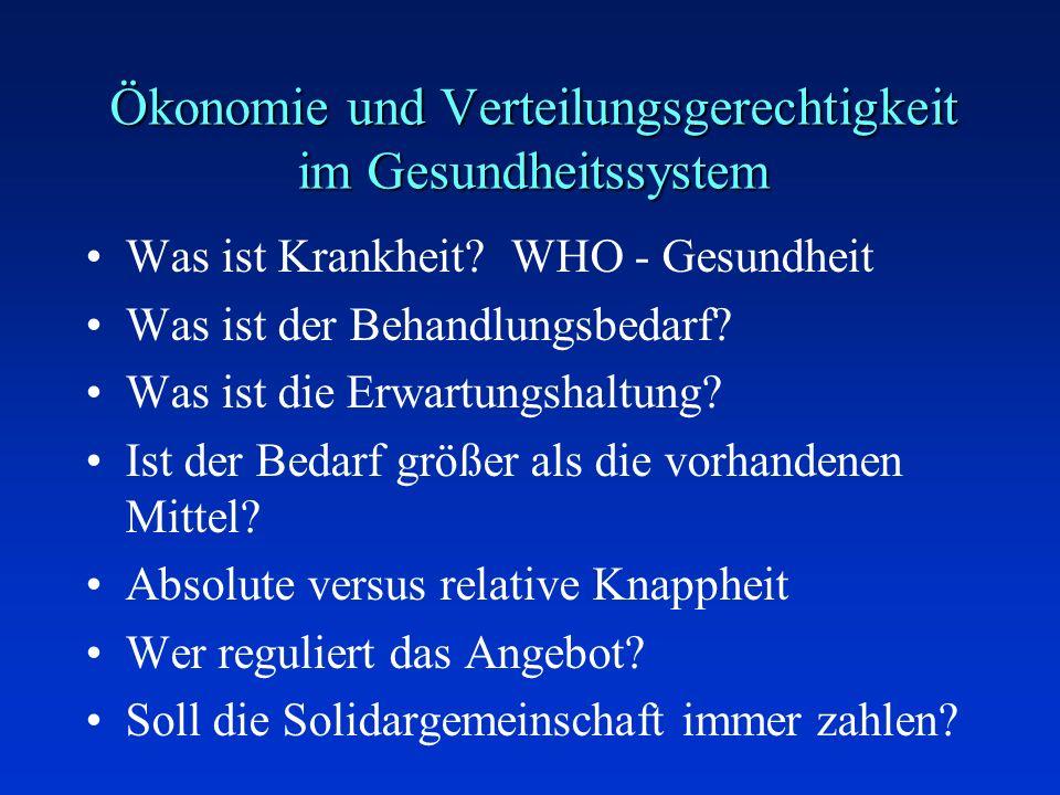 Ökonomie und Verteilungsgerechtigkeit im Gesundheitssystem Was ist Krankheit? WHO - Gesundheit Was ist der Behandlungsbedarf? Was ist die Erwartungsha