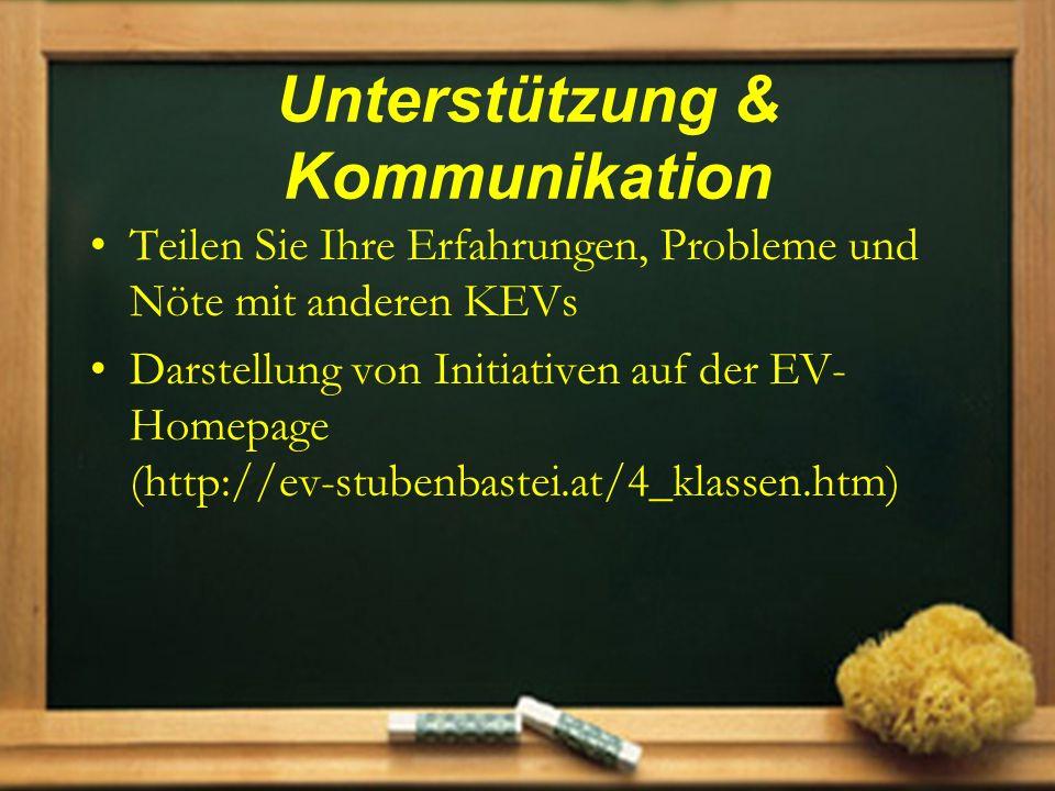 Unterstützung & Kommunikation Teilen Sie Ihre Erfahrungen, Probleme und Nöte mit anderen KEVs Darstellung von Initiativen auf der EV- Homepage (http:/