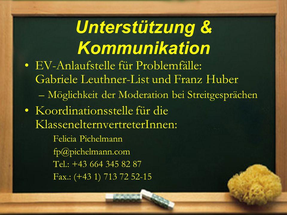 Unterstützung & Kommunikation EV-Anlaufstelle für Problemfälle: Gabriele Leuthner-List und Franz Huber –Möglichkeit der Moderation bei Streitgespräche