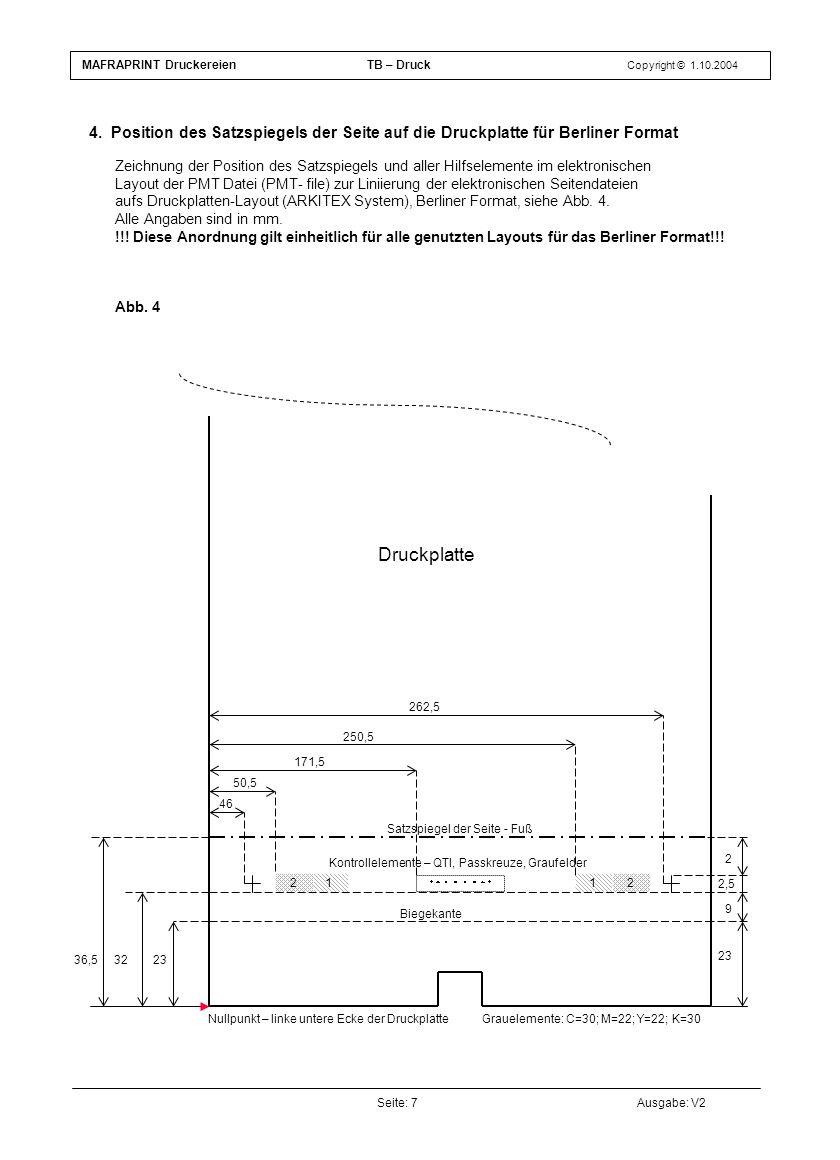2112 Seite: 7Ausgabe: V2 4. Position des Satzspiegels der Seite auf die Druckplatte für Berliner Format MAFRAPRINT DruckereienTB – Druck Copyright © 1