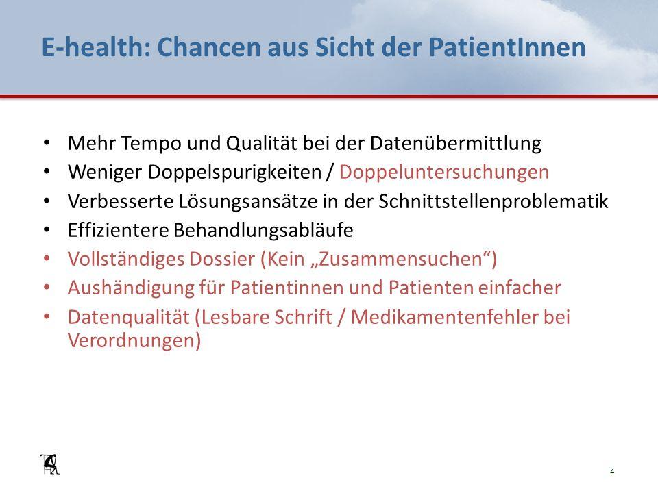 E-health: Chancen aus Sicht der PatientInnen Mehr Tempo und Qualität bei der Datenübermittlung Weniger Doppelspurigkeiten / Doppeluntersuchungen Verbe