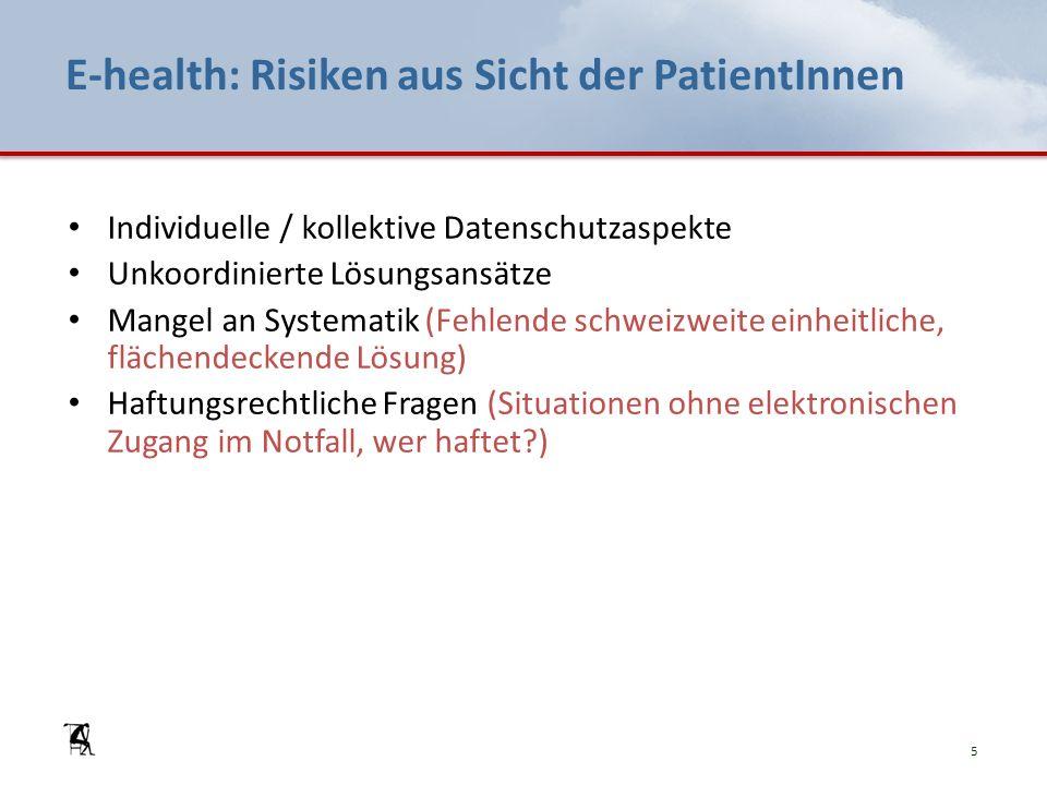 E-health: Risiken aus Sicht der PatientInnen Individuelle / kollektive Datenschutzaspekte Unkoordinierte Lösungsansätze Mangel an Systematik (Fehlende