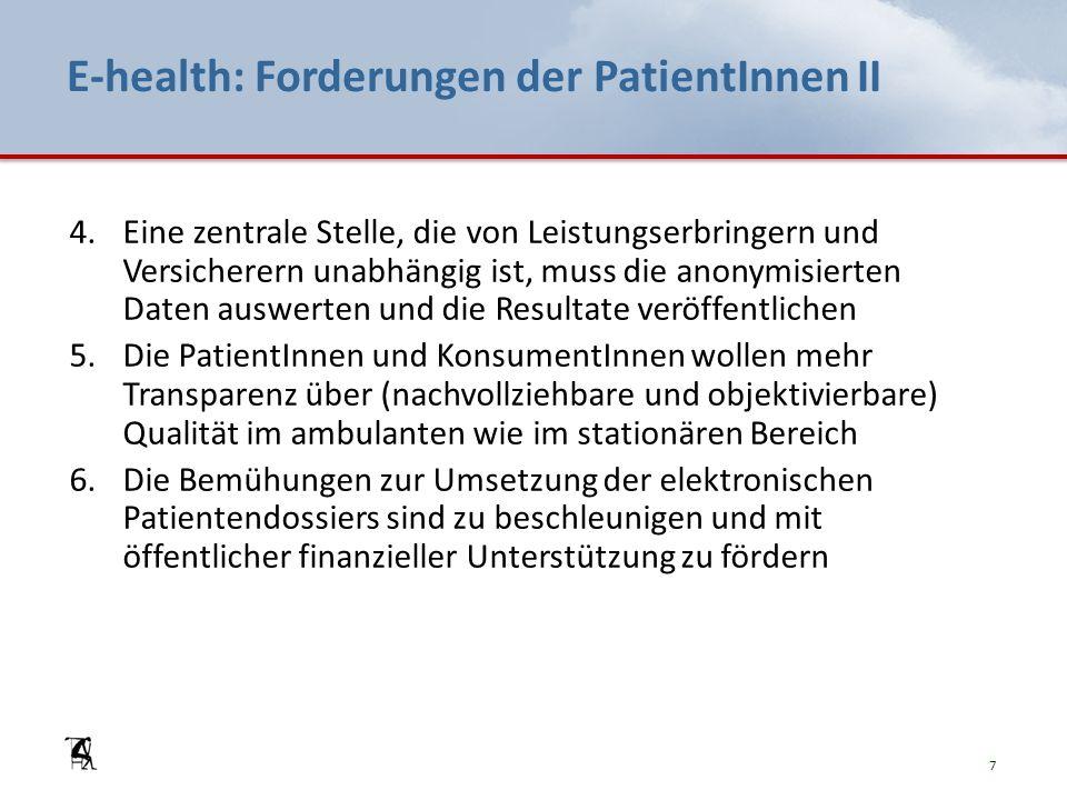 E-health: Forderungen der PatientInnen II 4.Eine zentrale Stelle, die von Leistungserbringern und Versicherern unabhängig ist, muss die anonymisierten Daten auswerten und die Resultate veröffentlichen 5.Die PatientInnen und KonsumentInnen wollen mehr Transparenz über (nachvollziehbare und objektivierbare) Qualität im ambulanten wie im stationären Bereich 6.Die Bemühungen zur Umsetzung der elektronischen Patientendossiers sind zu beschleunigen und mit öffentlicher finanzieller Unterstützung zu fördern 7