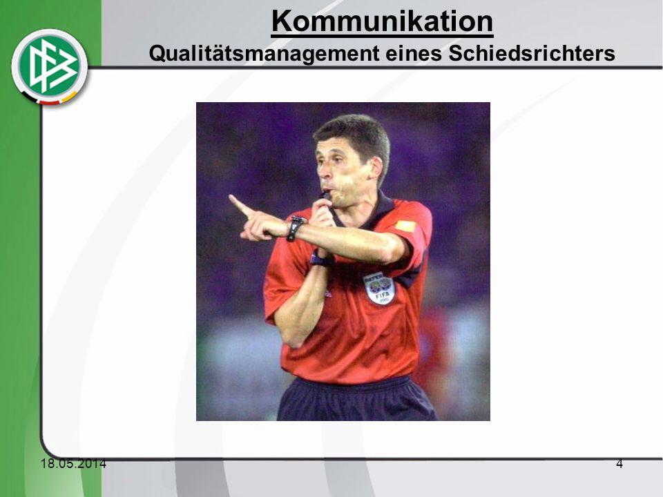 18.05.20144 Kommunikation Qualitätsmanagement eines Schiedsrichters