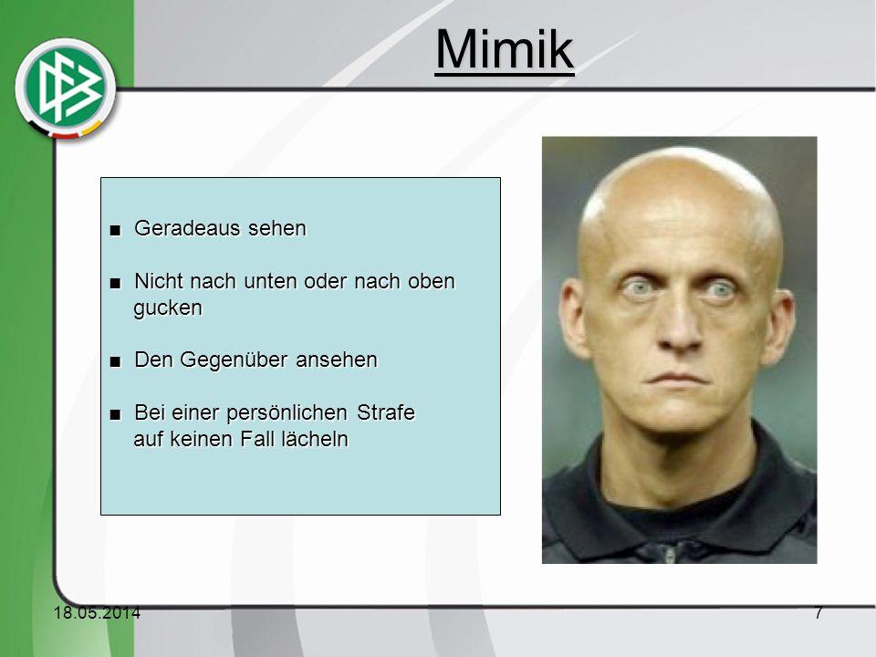 18.05.20148 Gute Haltung der Hände – Aber : Wie wirkt die Mimik ? Mimik