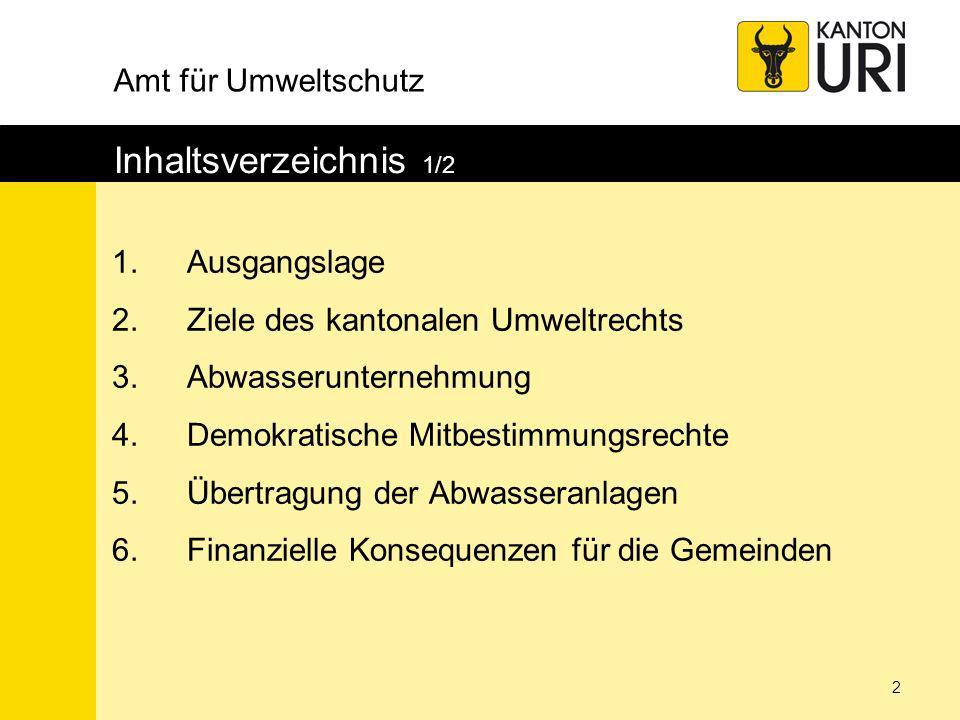 Amt für Umweltschutz 13 Abwasserunternehmung 6/7 GemeindeEinwohner Anteil Einwohner Anteil paritätisch Anteil Total Altdorf863516.4%1.7%18.1% Andermatt13062.5%1.7%4.1% Attinghausen15352.9%1.7%4.6% Bauen1950.4%1.7%2.0% Bürglen39687.5%1.7%9.2% Erstfeld37897.2%1.7%8.9% Flüelen18393.5%1.7%5.2% Göschenen4650.9%1.7%2.5% Gurtnellen6411.2%1.7%2.9% Hospental2230.4%1.7%2.1% Isenthal5541.1%1.7%2.7% Realp1620.3%1.7%2.0% Schattdorf48219.2%1.7%10.8% Seedorf15853.0%1.7%4.7% Seelisberg6391.2%1.7%2.9% Silenen22464.3%1.7%5.9% Sisikon3670.7%1.7%2.4% Spiringen9401.8%1.7%3.5% Unterschächen7471.4%1.7%3.1% Wassen4640.9%1.7%2.5% Total3512166 %34 %100.0%