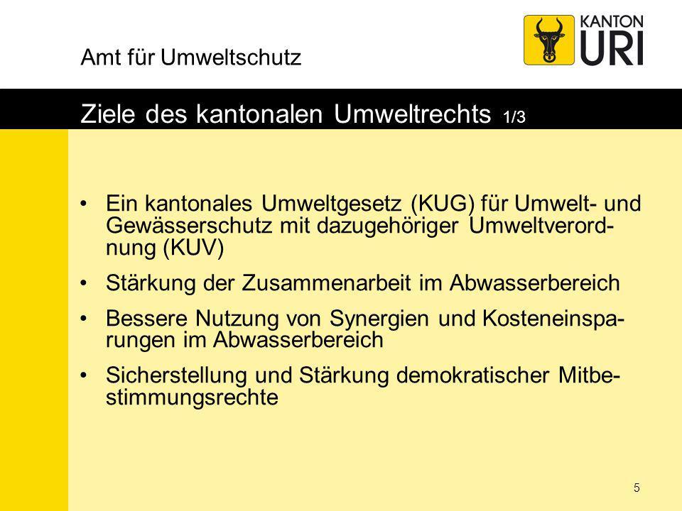 Amt für Umweltschutz 16 Demokratische Mitbestimmungsrechte 2/2 Wahl von VR und Revisionsstelle durch die gewählten GemeindevertreterInnen Referendumsmöglichkeit bei folgenden Entscheiden: –Investitionen > 10 Mio.
