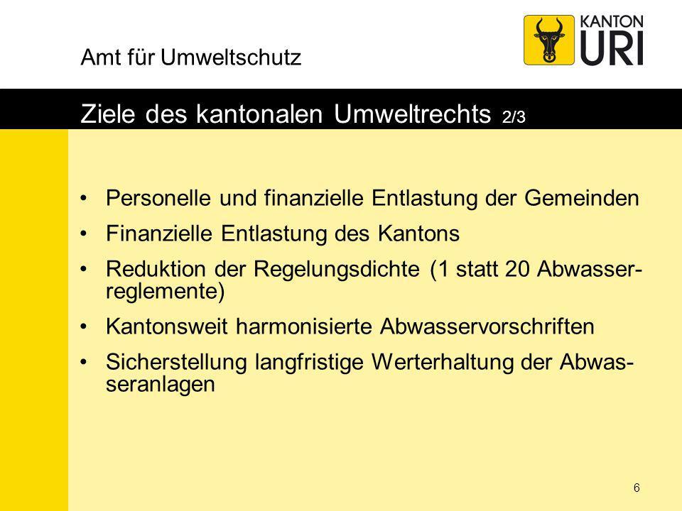 Amt für Umweltschutz 7 Ziele des kantonalen Umweltrechts 3/3 Einheitliche Planungen (z.