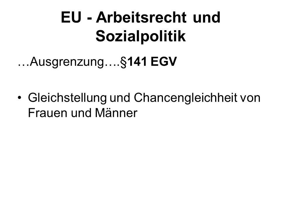 EU - Arbeitsrecht und Sozialpolitik …Ausgrenzung….§141 EGV Gleichstellung und Chancengleichheit von Frauen und Männer