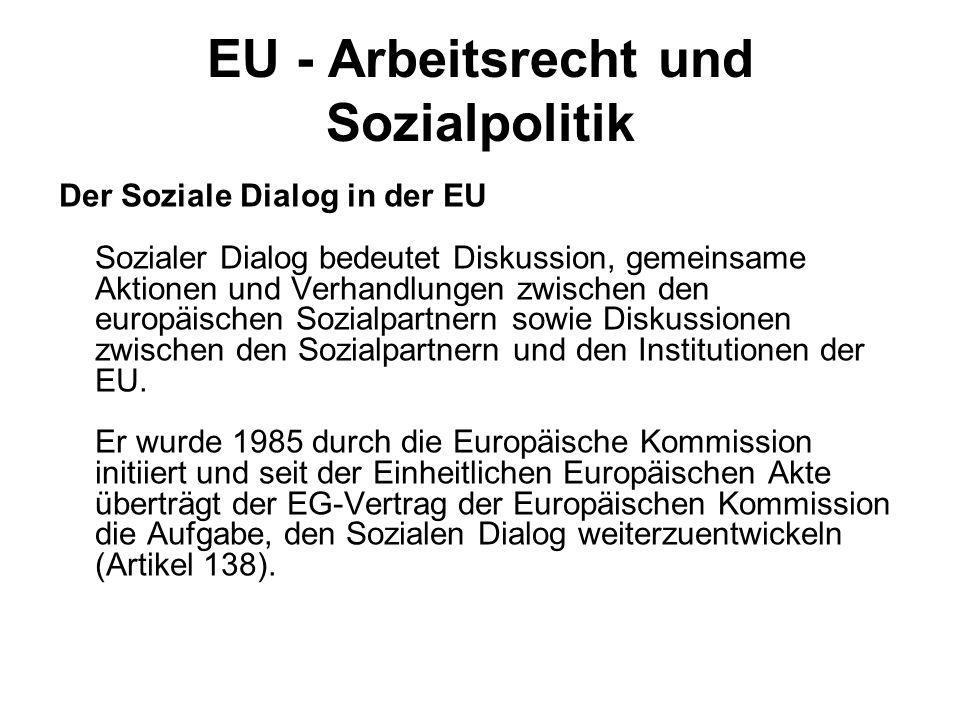 EU - Arbeitsrecht und Sozialpolitik Der Soziale Dialog in der EU Sozialer Dialog bedeutet Diskussion, gemeinsame Aktionen und Verhandlungen zwischen d