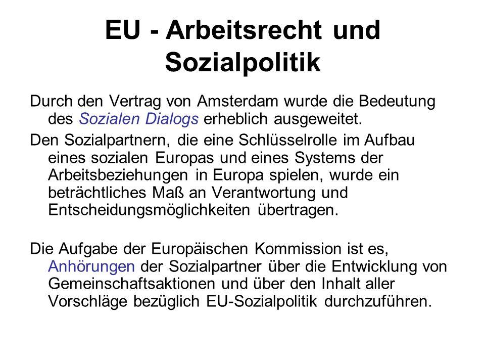 EU - Arbeitsrecht und Sozialpolitik Durch den Vertrag von Amsterdam wurde die Bedeutung des Sozialen Dialogs erheblich ausgeweitet. Den Sozialpartnern